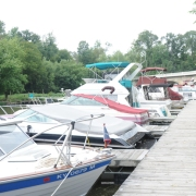 Harrods Creek floating dock boat slips at Creekside Landing Marina